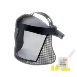 Pantalla con rejilla de nylon flexible que reduce el riesgo de rotura y alarga su vida útil. Con diadema doble y 4 tapones para los oídos.