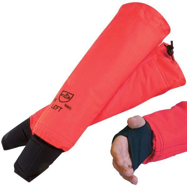 Manguitos para podar de color rojo con puño integrado y protección del matacarpio con capas anticorte. Ergonómicos y sistema stop cordón en el codo.