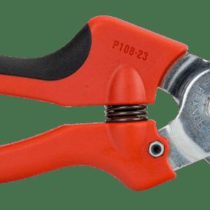 Tijeras de podar de una mano de corte deslizante con mango de composite de agarre suave y cabezal de corte estrecho.