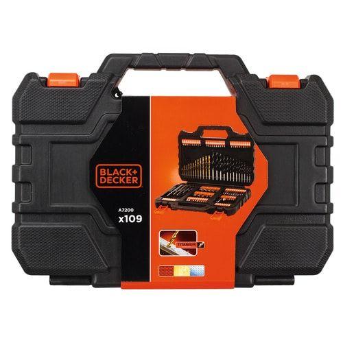 """KIT B+D 109 piezas Puntas y Brocas A7200-XJ Juego de 109 piezas para Atornillar y taladrar con brocas """"Titanio"""""""