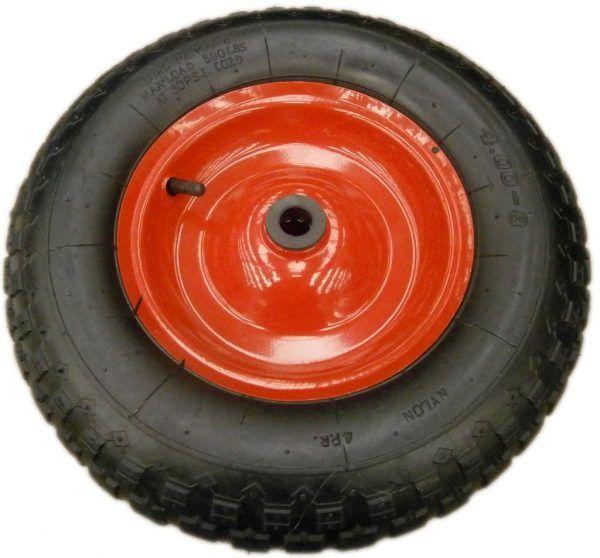 """Rueda para carretilla (100 y 200 lts): llanta metálica con rodamiento (4,00-8""""); 20 mm de diámetro."""