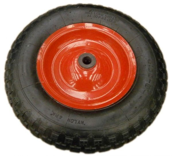 """Rueda antipinchazos para carretilla (100 y 200 lts): llanta metálica con rodamiento (4,00-8""""); 20 mm de diámetro."""