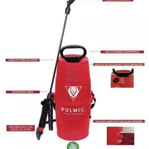 Hidráulico de presión previa para aplicación de insecticidas, fungicidas y herbicidas con 5 litros de capacidad útil y 1,25 kgr de peso.