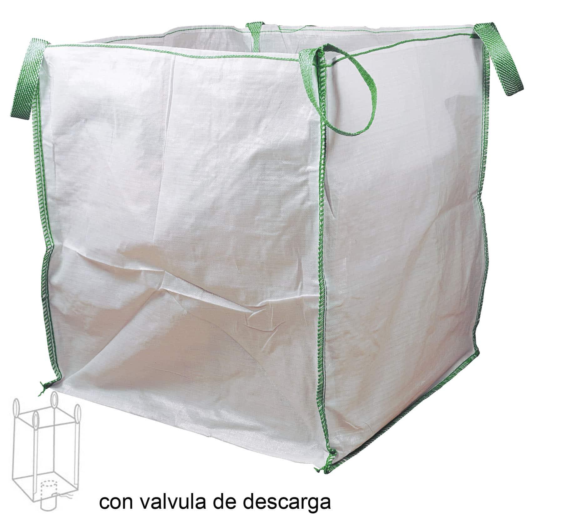 Saca fabricada en rafia de polipropileno y dotada de 4 asas para facilitar su transporte, así como calculada para soportar hasta 1.000kg de peso.