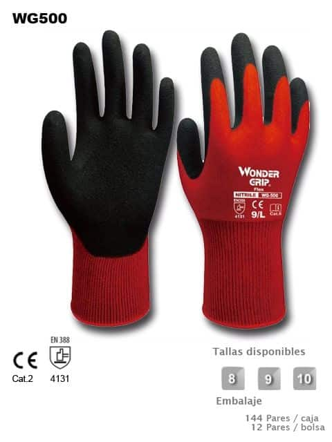GUANTE WG 500 Nylon rojo + Nitrilo Foam
