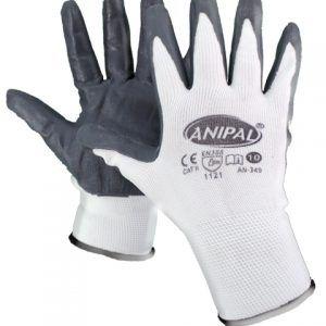 Guante con soporte de poliéster blanco sin costuras, recubrimiento de nitrilo y puño elástico.