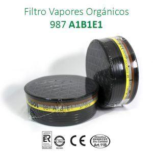 Filtro vapores orgánicos (p.e.>65ºC), disolventes, gases inorgánicos y gases ácidos.