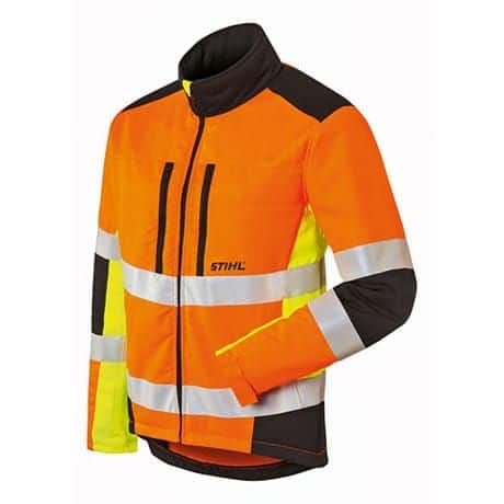Chaqueta de advertencia ligera y transpirable con gran libertad de movimiento. Color naranja y amarillo de advertencia (combinación con negro).